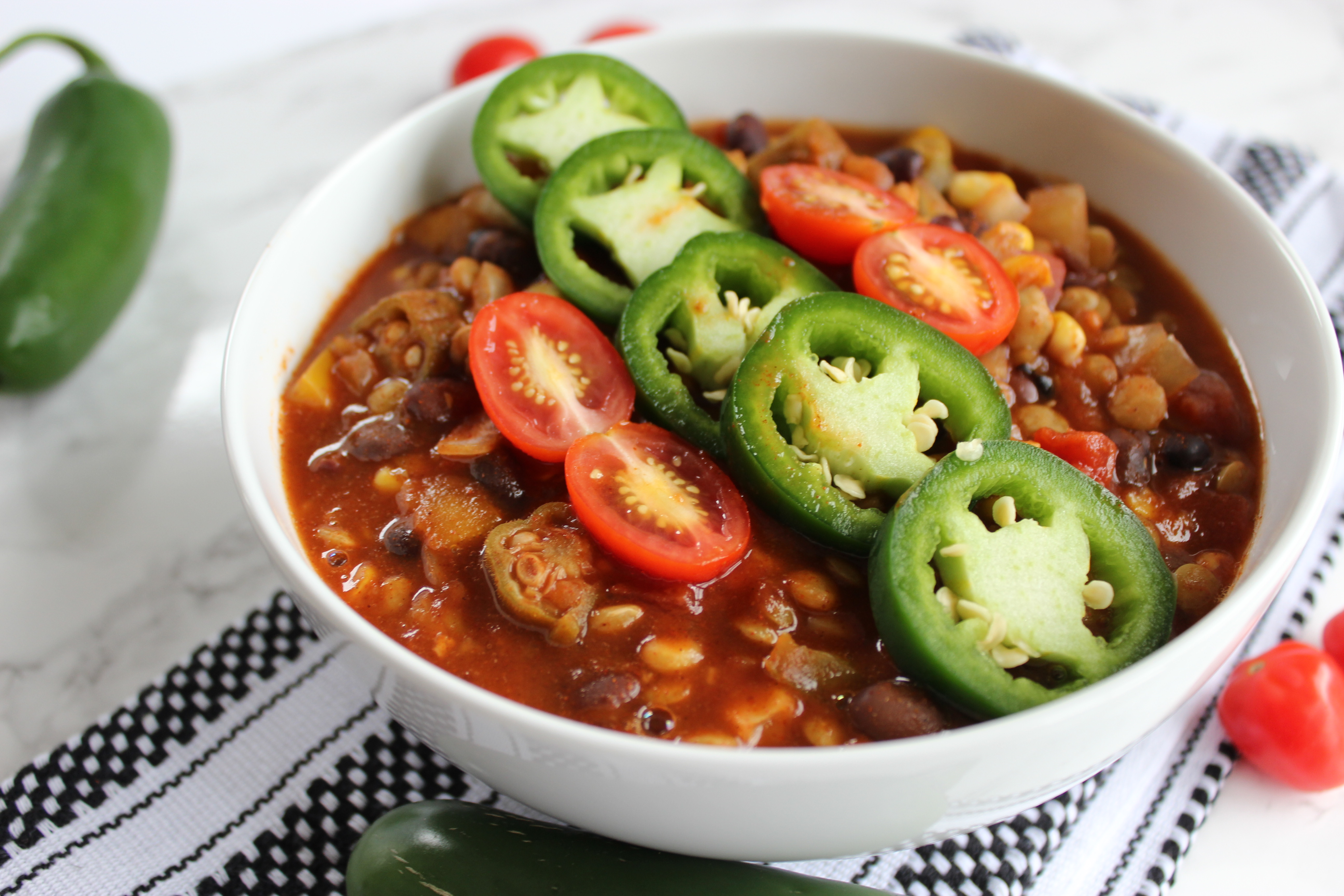 Slow Cooker Chili with Lentils, Corn, Black Beans, and Okra [Vegan & Oil-Free]
